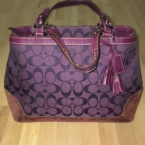 Purple Coach Signature Carryall